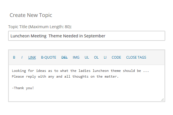Create New Forum Topic Post Reply